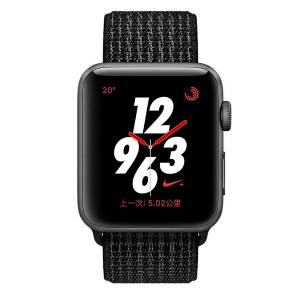 Apple Watch 38mm 40MM tkaný nylonový velcro provlékací sportovní řemínek elektro černá