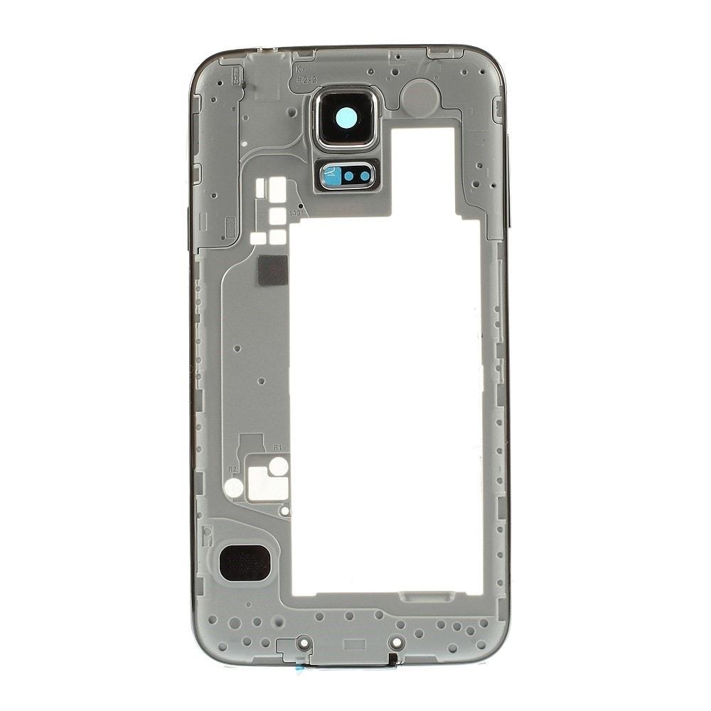 Samsung Galaxy S5 Středový rámeček stříbrný kryt s tlačítky a osázením G900