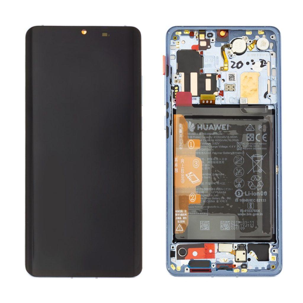 Huawei P30 Pro LCD displej dotykové sklo komplet přední panel včetně rámečku Breathing Crystal (Service Pack)