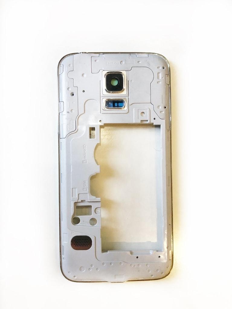 Samsung Galaxy S5 mini středový rámeček střední kryt stříbrný originální SWAP G800