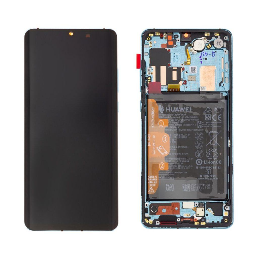 Huawei P30 Pro LCD displej dotykové sklo komplet přední panel včetně rámečku Aurora Blue (Service Pack)
