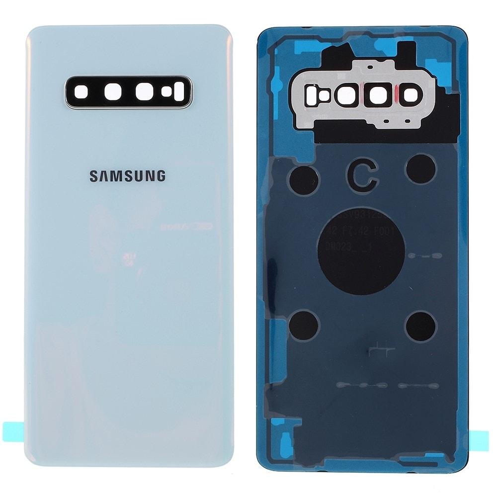 Samsung Galaxy S10 Plus zadní kryt baterie osázený včetně krytky fotoaparátu bílý G975