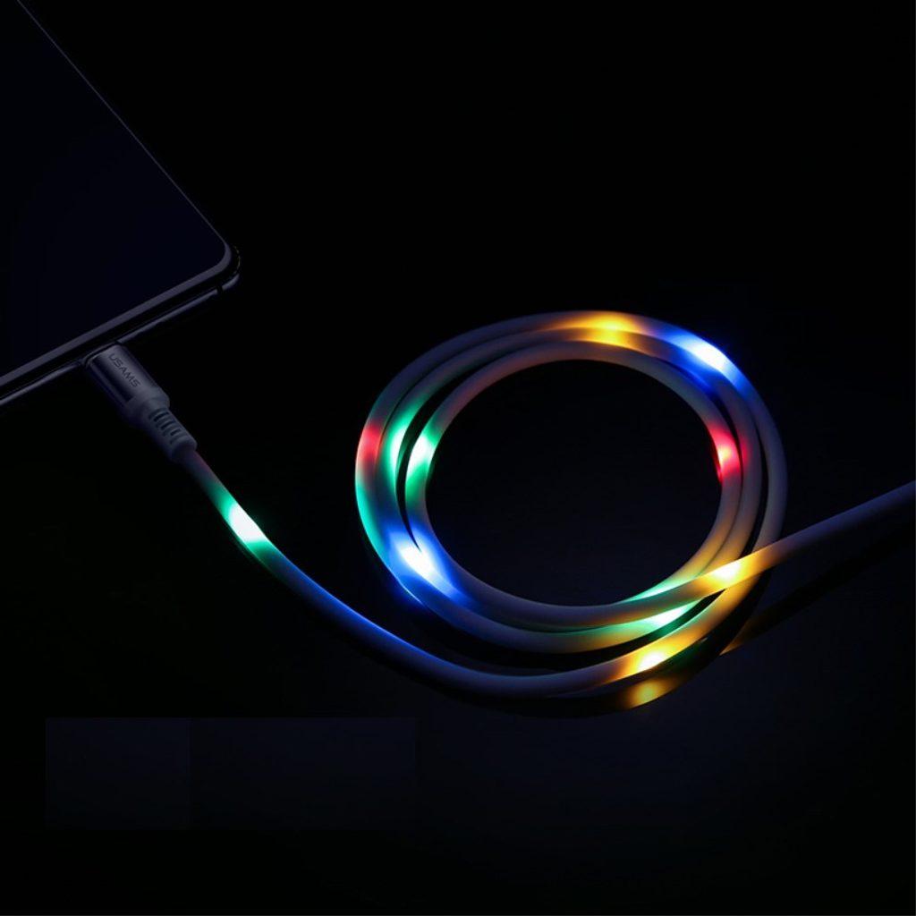 USAMS Nabíjecí a datový plochý kabel svítící bílý USB C US-SJ287 U2 1m 2A