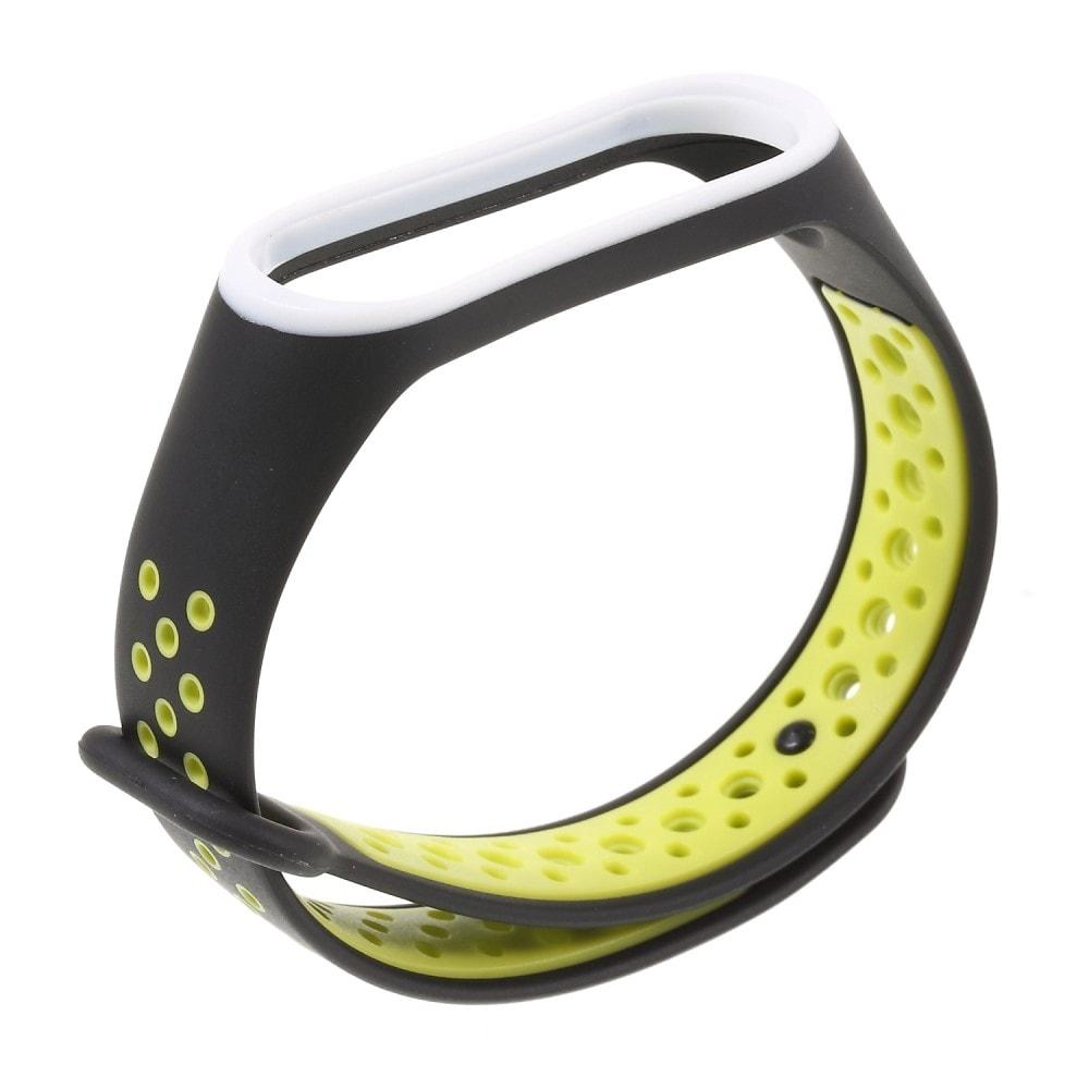 Xiaomi Mi Band 3 / 4 pásek na ruku sportovní řemínek silikon černý/žlutý
