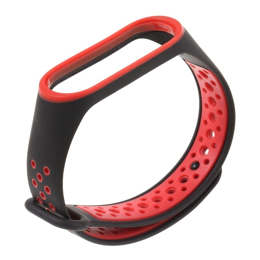 Xiaomi Mi Band 3 / 4 pásek na ruku sportovní řemínek silikon červeno-černý