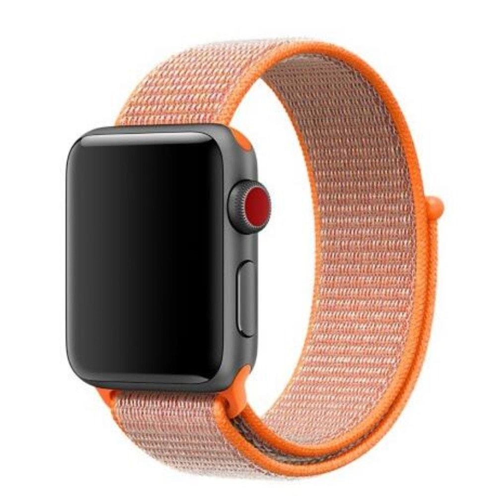Apple Watch 42mm 44MM tkaný nylonový provlékací sportovní řemínek oranžový