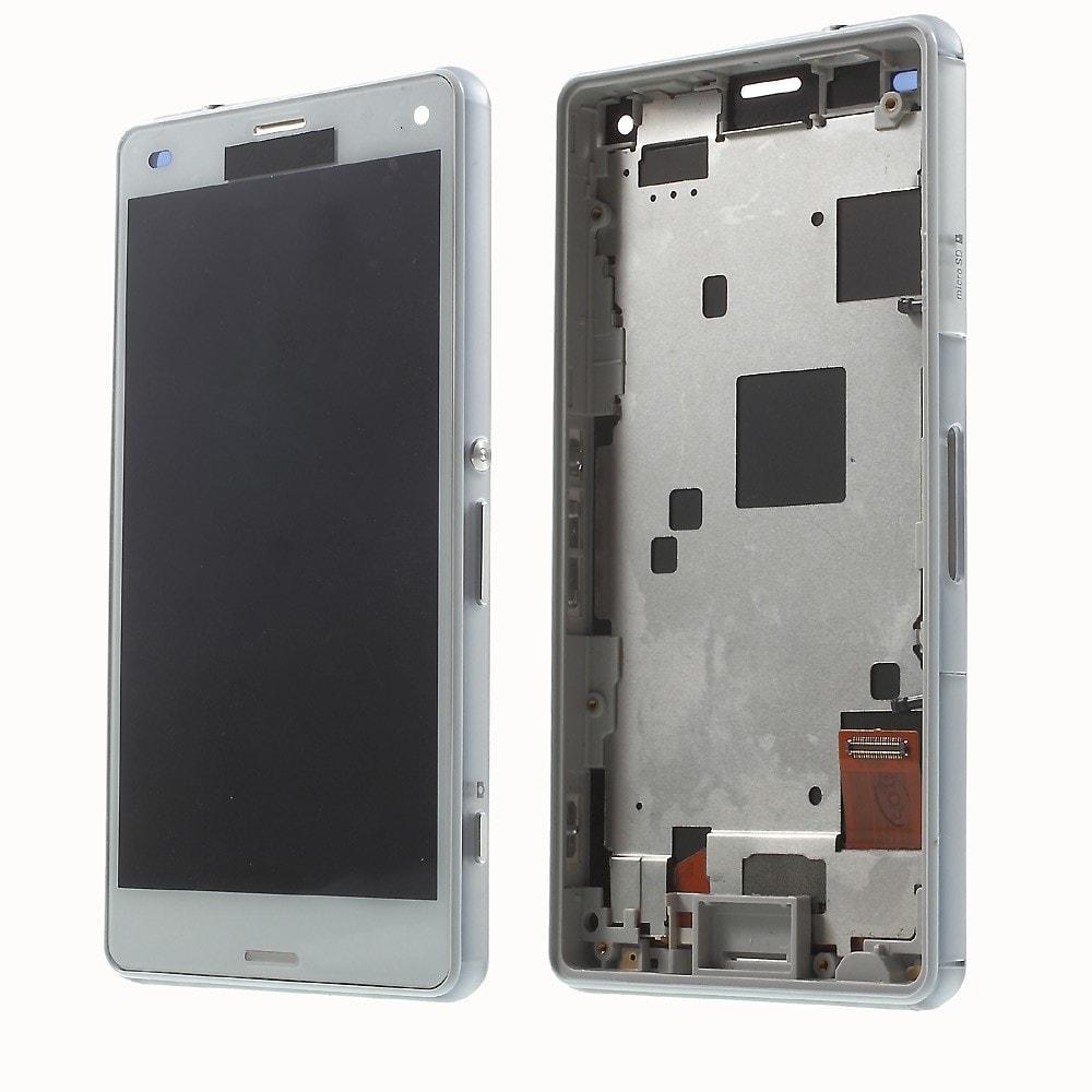 Sony Xperia Z3 Compact LCD displej včetně středního rámečku telefonu D5803 bílá