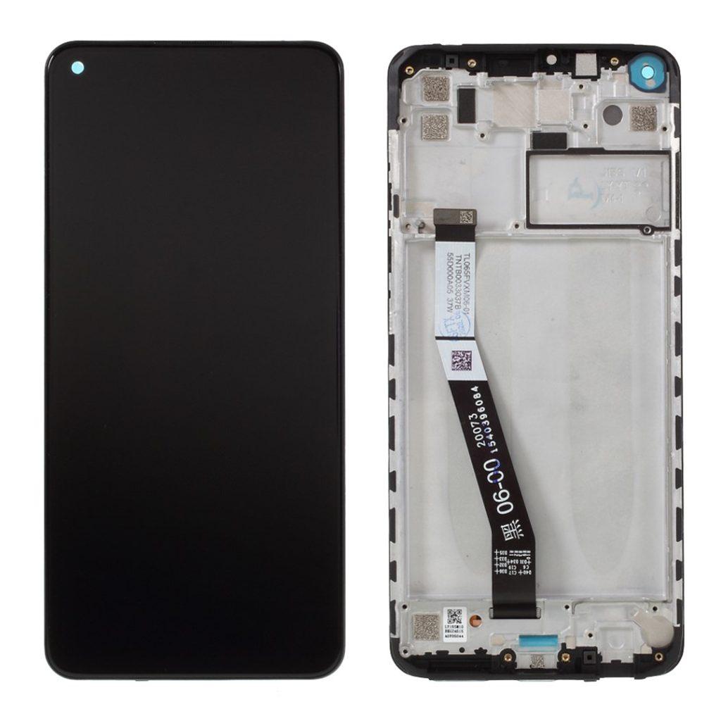 Xiaomi Redmi Note 9 LCD displej dotykové sklo včetně rámečku komplet přední panel černý