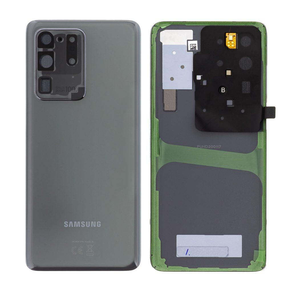 Samsung Galaxy S20 Ultra Zadní kryt šedý G988 Cosmic Gray včetně čočky fotoaparátu (Service Pack)