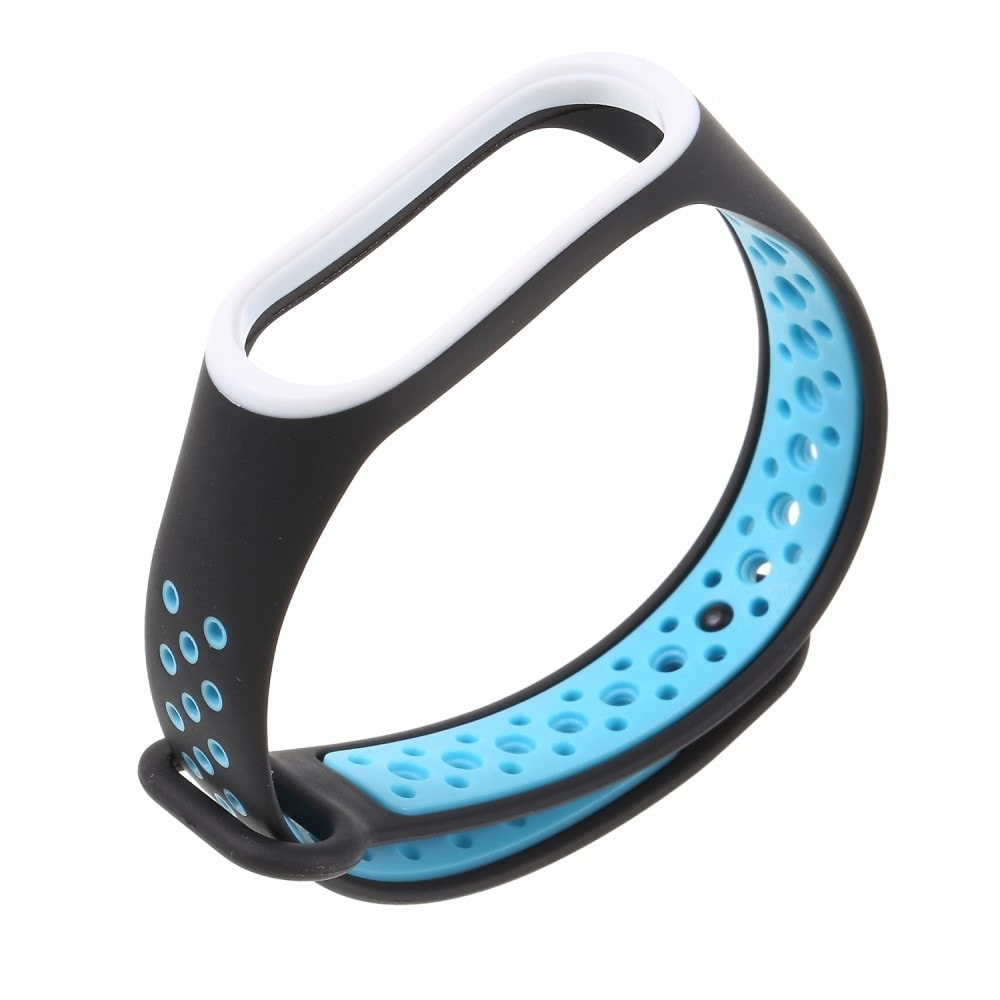 Xiaomi Mi Band 3 / 4 pásek na ruku sportovní řemínek silikon černý/modrý