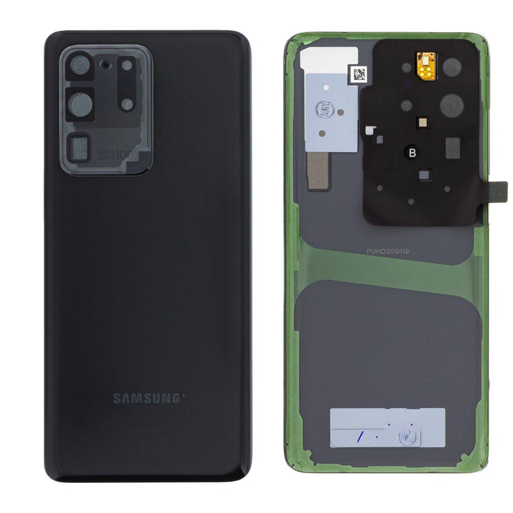 Samsung Galaxy S20 Ultra Zadní kryt černý G988 Cosmic Black včetně čočky fotoaparátu (Service Pack)