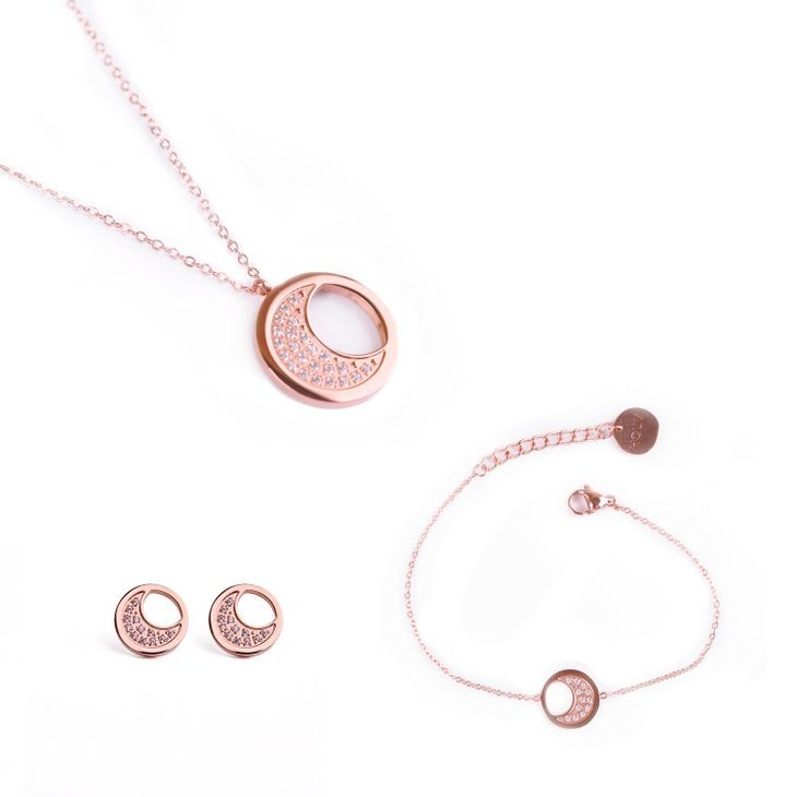Trio of Rose Gold Moon
