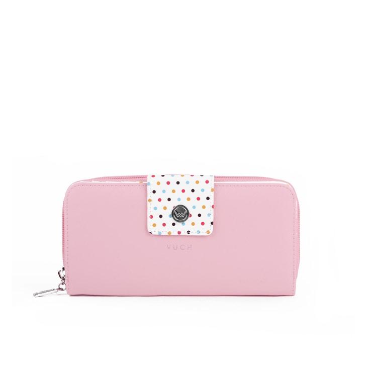 Dámska ružová peňaženka s bodkami zo syntetickej kože Dots