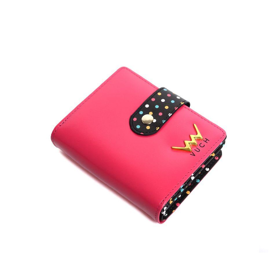 Dámska červená peňaženka s bodkami zo syntetickej kože