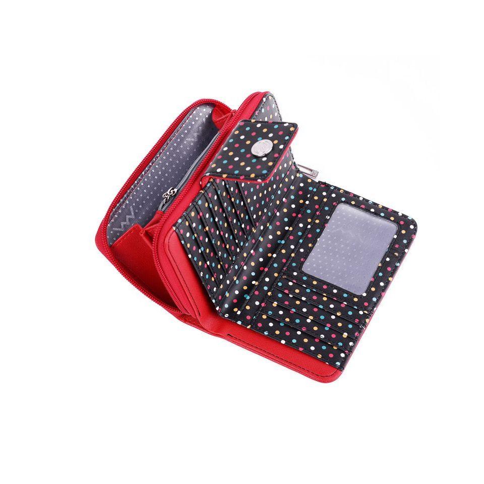 Dámska čierná peňaženka s bodkami zo syntetickej kože Dots
