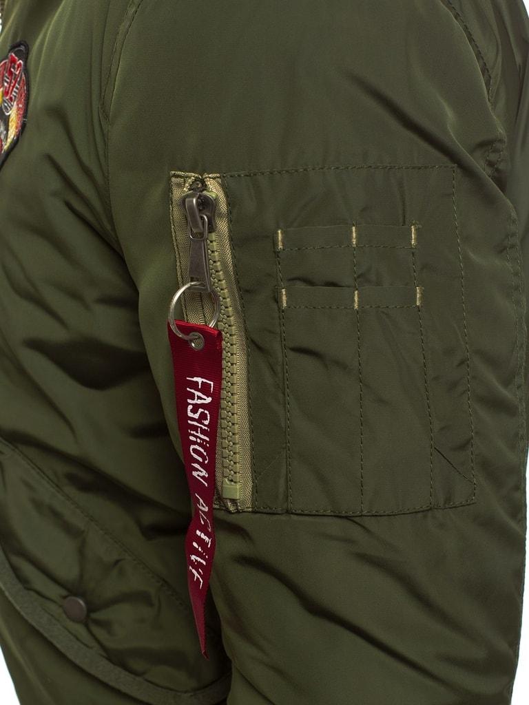 Khaki bomber dzseki szőrmés gallérral X1027K Legyferfi.hu