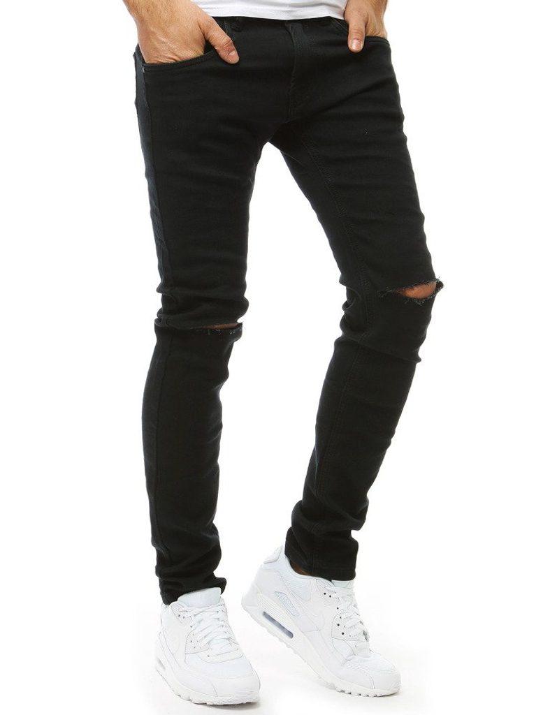 fekete tépett nadrág