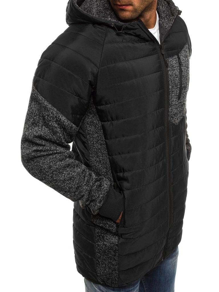 Hosszított fekete steppelt dzseki J.STYLE AK62 Legyferfi.hu