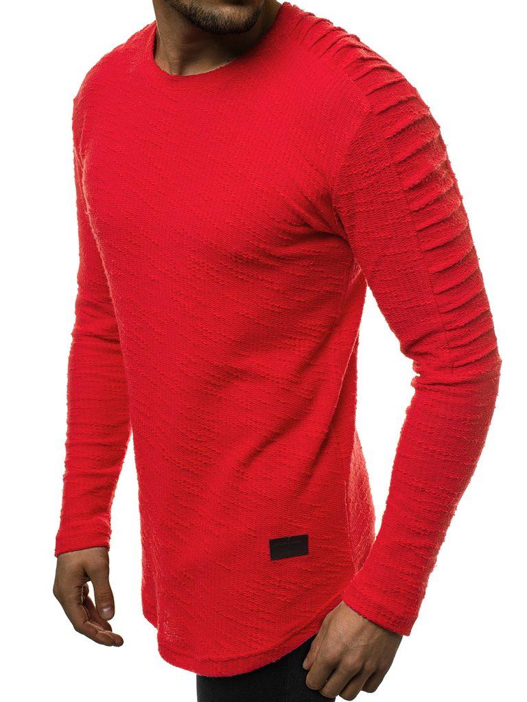 Piros hosszított pulóver O1249 Legyferfi.hu