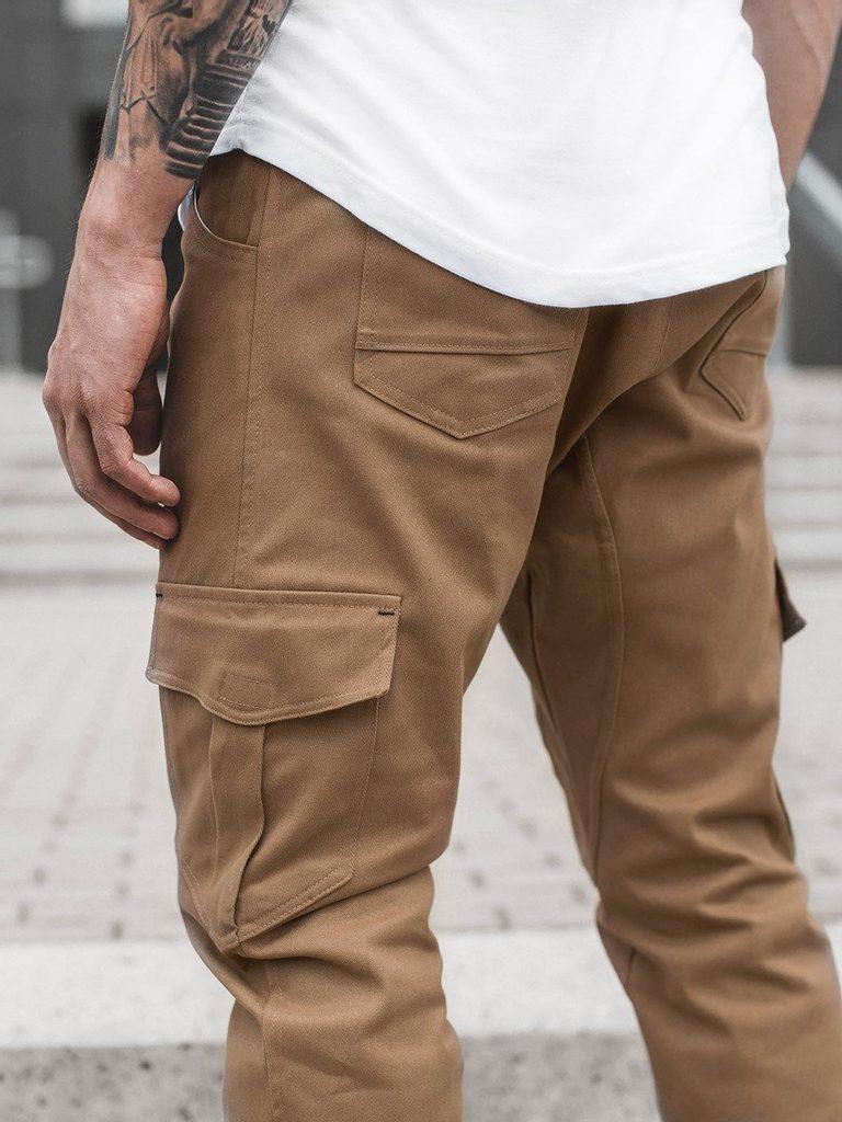 Férfi ruházat Nadrágok Divatos karamell színű nadrág Barna