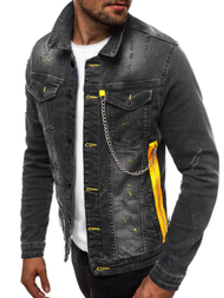 Stílusos fekete farmer dzseki színes varrással G601
