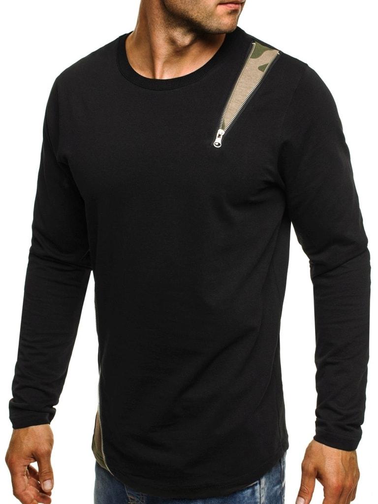 Férfi hosszú ujjú póló terepmintás, koptatott szürke