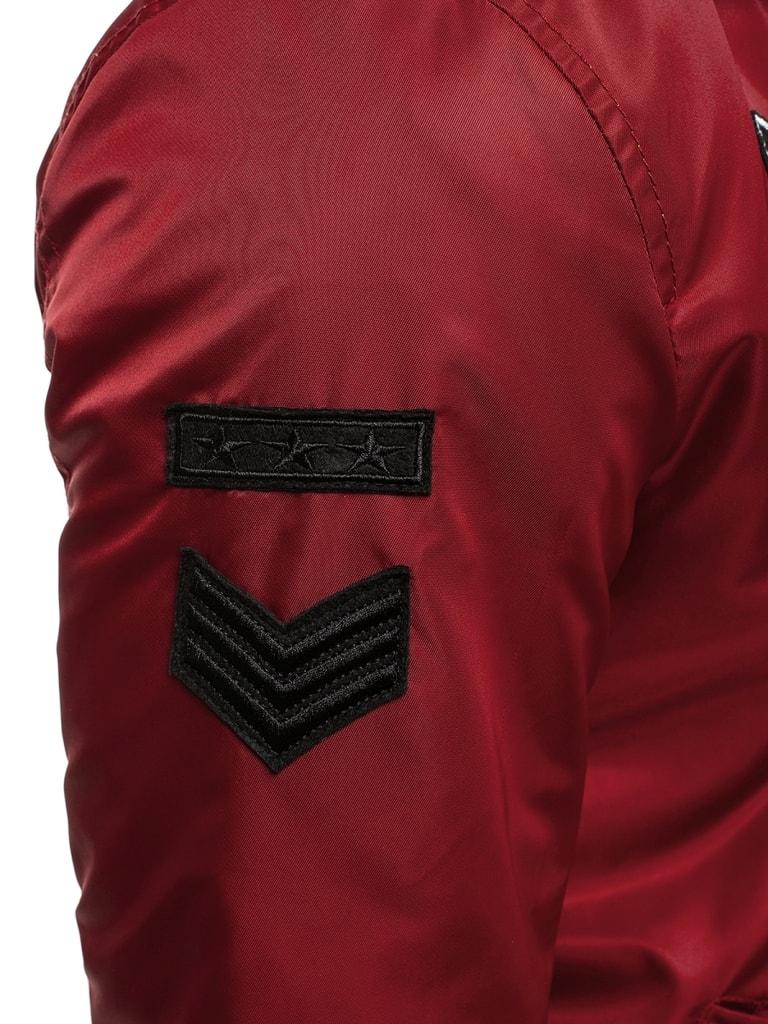 Bordó bomber dzseki logós címkékkel NATURE 4635 Legyferfi.hu