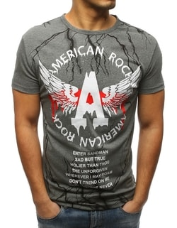 dc198fae7d -52% Raktáron Antracit szürke póló AMERICAN ROCK ...