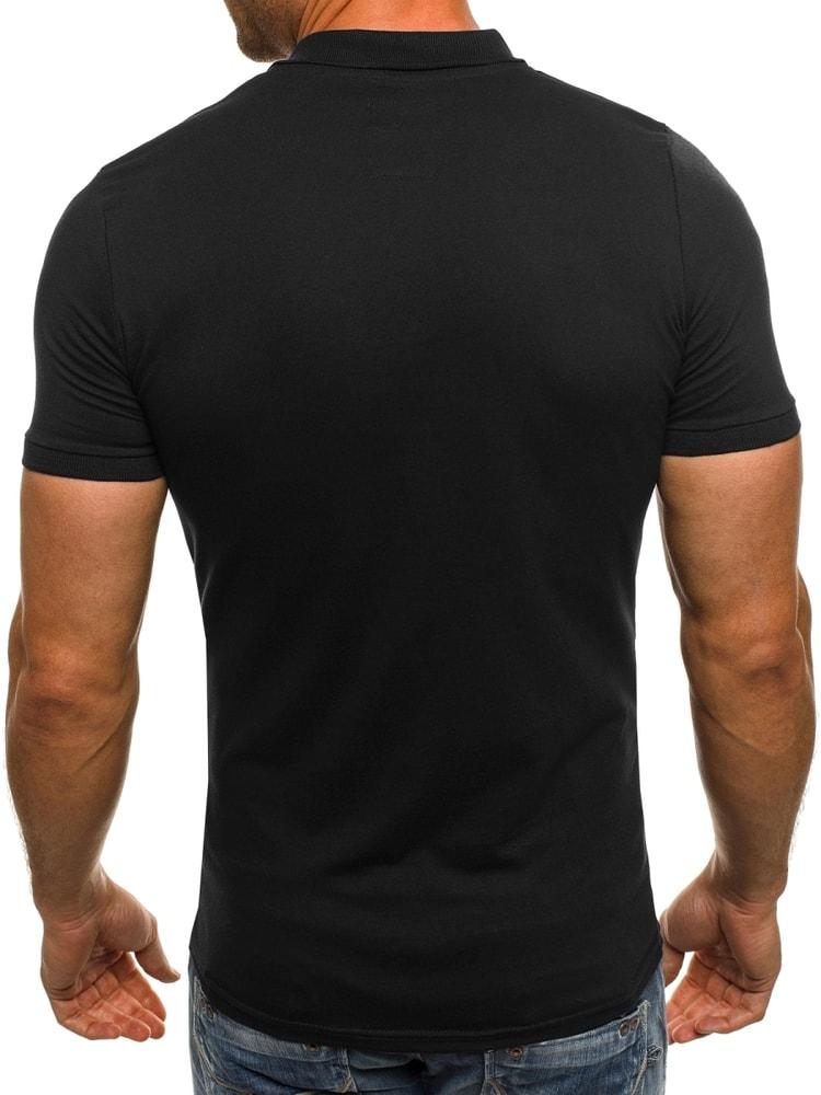 831d4983fa Egyszerű fekete galléros póló OZONEE B/171221 - Legyferfi.hu