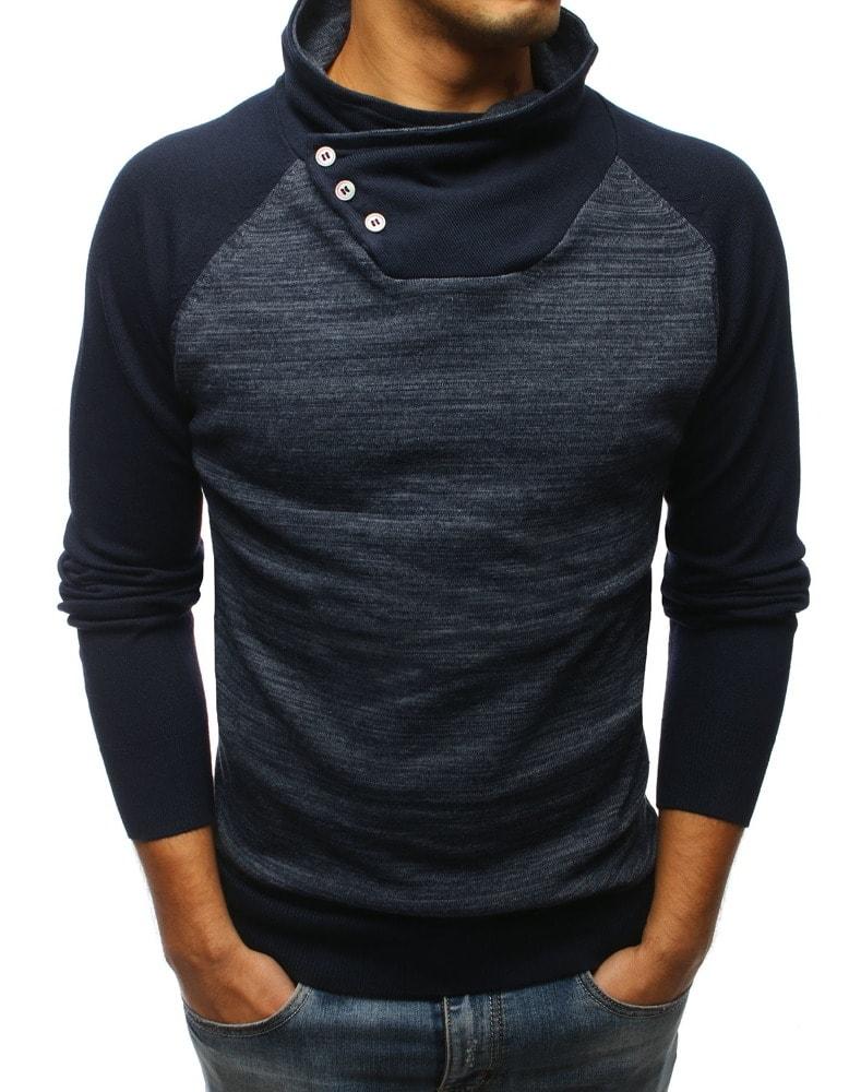 46f26991f5 Sötét kék magas nyakú pulóver - Legyferfi.hu