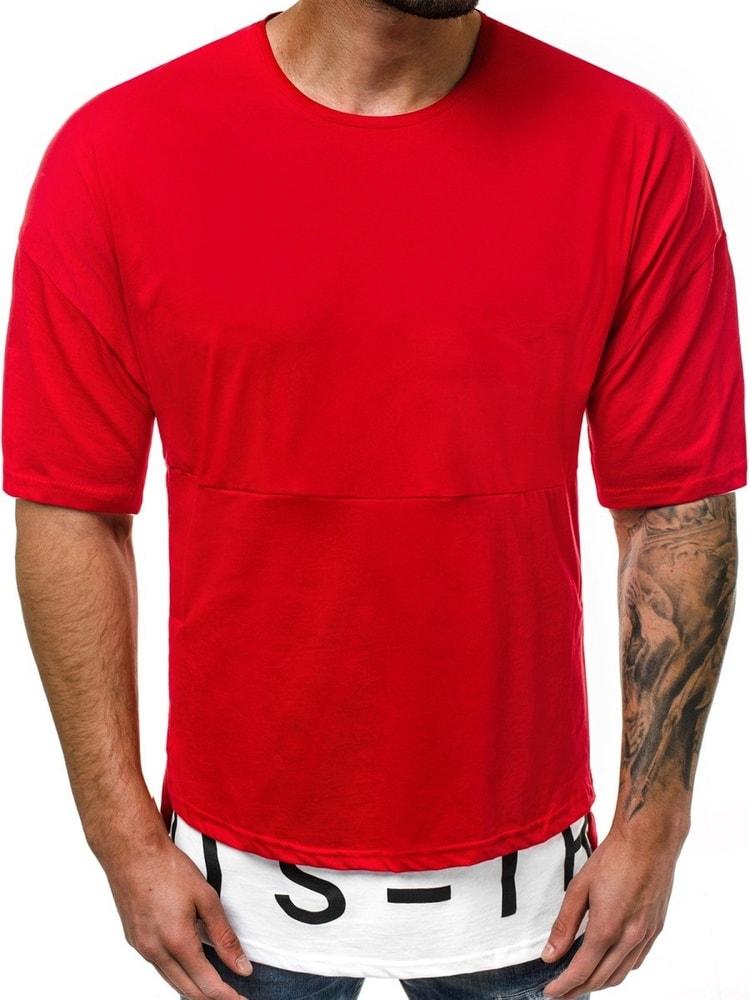 6c208e08ed Divatos piros póló hosszított OZONEE B/8151 - Legyferfi.hu