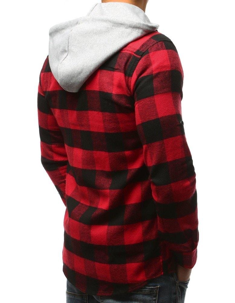 0f2a752a9d Piros fekete kockás kapucnis ing - Legyferfi.hu
