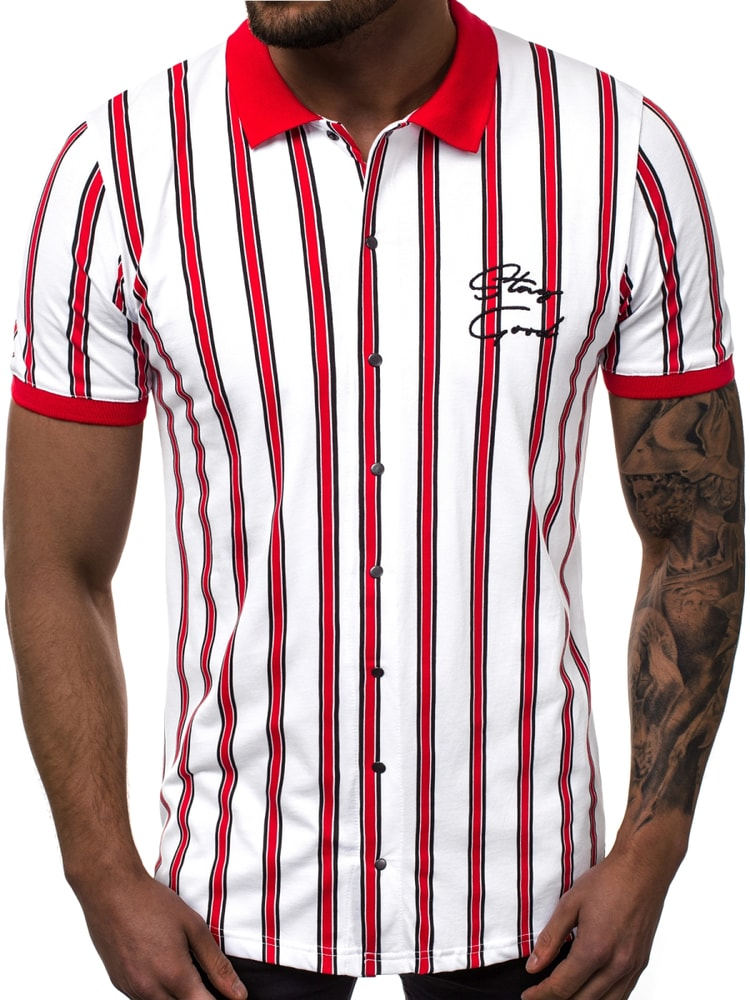 2f04e56e8e Modern fehér piros csíkos póló ing OZONEE B/19100 - Legyferfi.hu