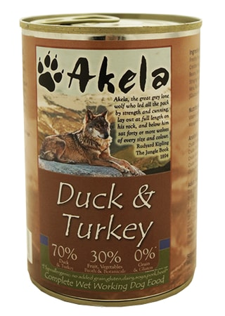 Konzerva Akela Grain Free 70% Duck + Turkey 400 g