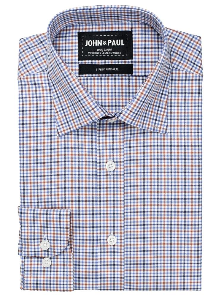 John & Paul Sobota. Interný kód:K-340-349 Sobotu si vezmite pokojne aj v nedeľu. Farebná kockovaná košeľa zo 100% bavlny.  Klasický golier 100% dvojmo súkaná bavlna kvality 100's Manžety na bežné gombíky Gramáž 129 g/m2 Keprová väzba