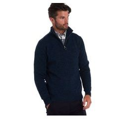 Zapínací sveter Barbour Essential Lambswool Half Zip - navy