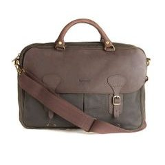 Voskovaná taška na notebook Barbour Wax Leather Briefcase - olivová