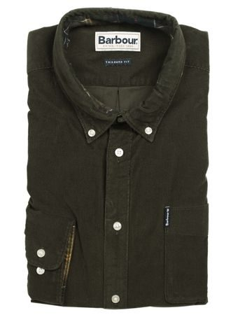 Menčestrová košeľa Barbour Cord - Forest (button-down)