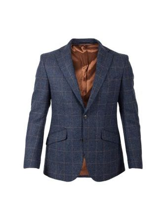 Tweedové sako Walker Slater Edward - Navy & Gold Check