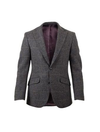 Tweedové sako Walker Slater Edward - Charcoal & Green Windowpane