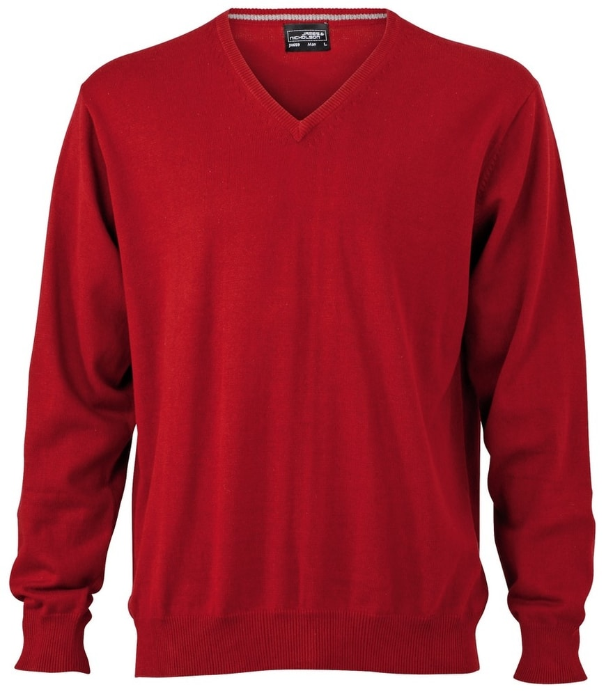 James & Nicholson Pánský bavlněný svetr JN659 - Bordeaux | L
