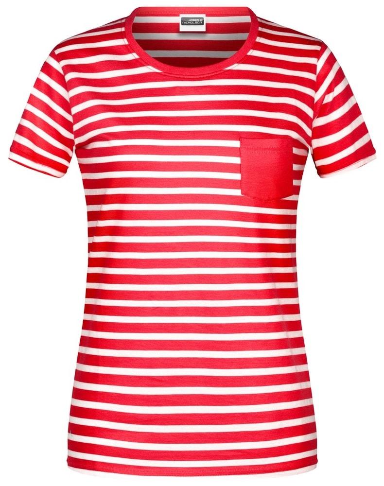 James & Nicholson Dámske pruhované tričko z biobavlny 8027 - Červená / bílá | L