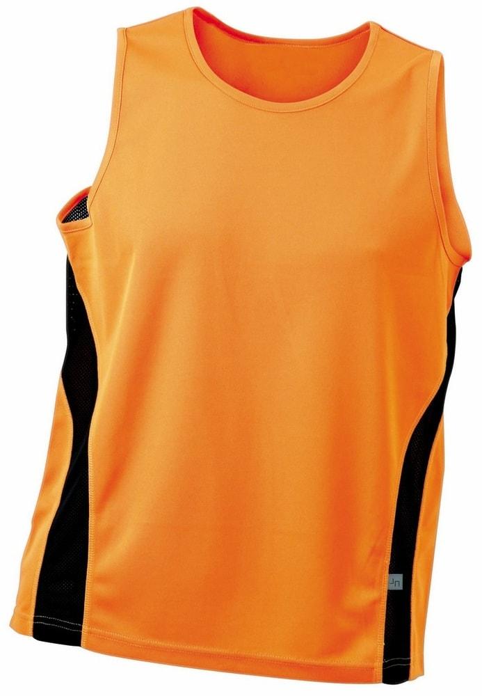 James & Nicholson Pánske športové tričko bez rukávov JN305 - Oranžová / černá | M
