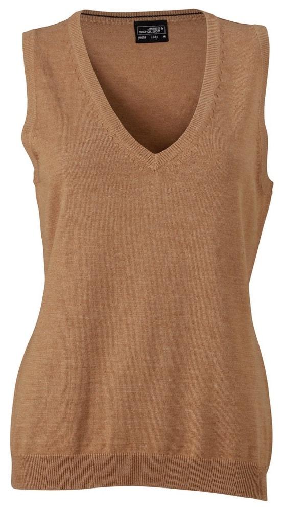 James & Nicholson Dámský svetr bez rukávů JN656 - Camel | L
