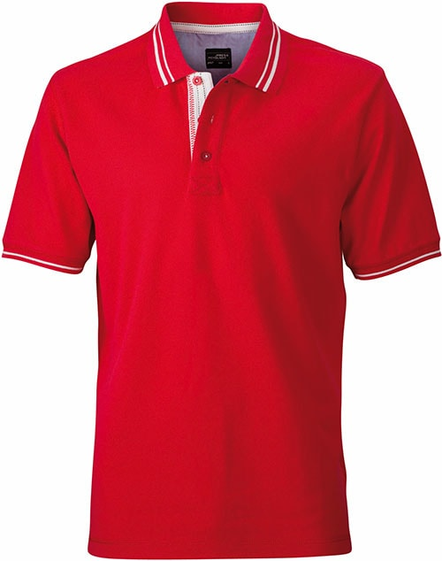 James & Nicholson Pánska polokošeľa JN947 - Červená / šedo-bílá | XL