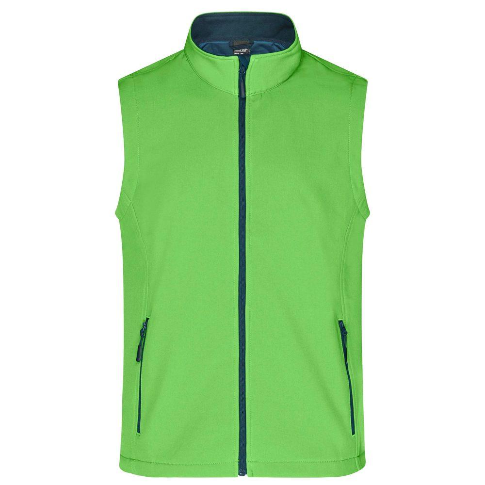 James & Nicholson Pánska softshellová vesta JN1128 - Zelená / tmavě modrá   XXXL