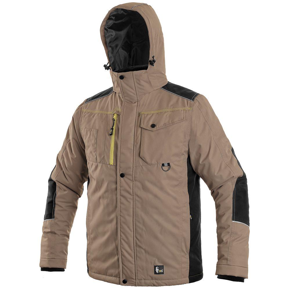 Canis Pánska zimná bunda CXS BALTIMORE - Béžová / černá | XXXL
