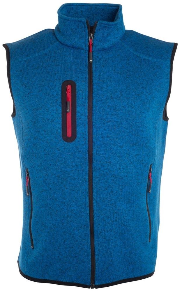 James & Nicholson Pánska vesta z pleteného fleecu JN774 - Královsky modrý melír / červená | XXXL