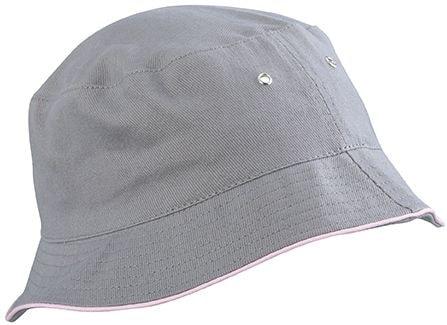 Bavlněný klobouk MB012 - Šedá / světle růžová | L/XL