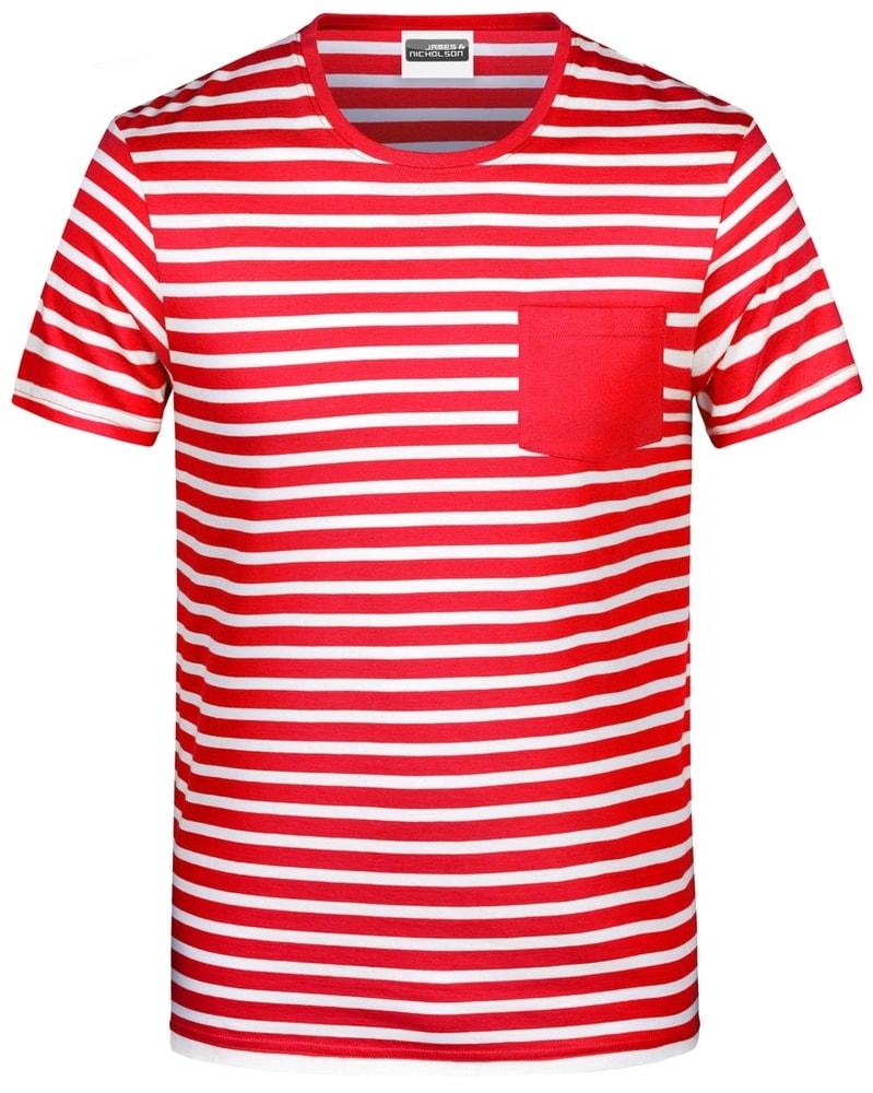 James & Nicholson Pánske pruhované tričko z biobavlny 8028 - Červená / bílá | XXL